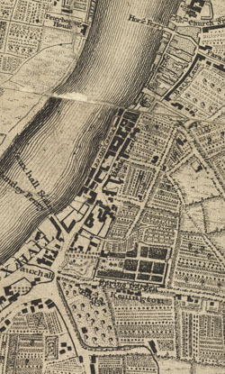 An exact Survey of the City's of London Westminster, ye Borough of Southwark and the country near ten miles round; begun in 1741 and ended in 1745, by J. Rocque; and engrav'd by R. Parr, 1746, (Vauxhall)